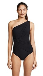 Michael Kors Collection One Shoulder Shirred One Piece Black
