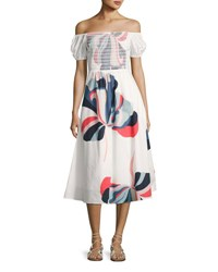 Tanya Taylor Designs Zanna Floral Ribbon Dress White Pattern