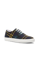 Comme Des Garcons Shirt Wool Tartan Check Sneakers In Blue Checkered And Plaid