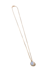 Forever 21 Faux Stone Teardrop Charm Necklace White Gold