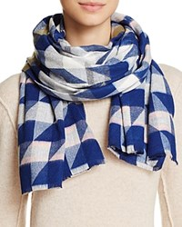 Aqua Geo Houndstooth Scarf 100 Exclusive Royal Blue Multi