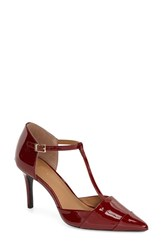 Women's Calvin Klein 'Ginae' Pointy Cap Toe T Strap Pump Dark Red