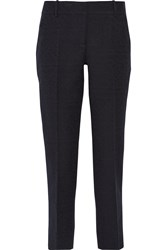 Oscar De La Renta Cotton Blend Straight Leg Pants Blue