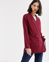 Native Youth Wrap Front Blazer In Satin Co Red