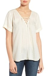 Lucky Brand Women's Lace Up Top