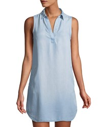 Dex Chambray Sleeveless Tunic Shirtdress Blue