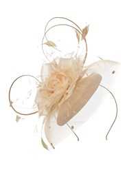 Suzanne Bettley Pillbox Hat On Band With Silk Flower Champagne