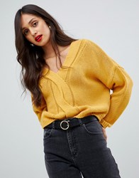 Ax Paris Cable Knit Jumper Yellow