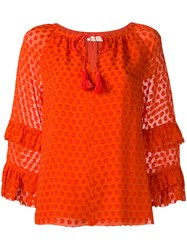 Tory Burch Ruffled Sleeves Patterned Blouse Red