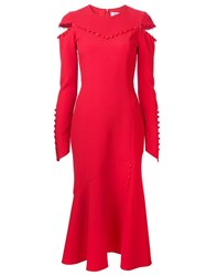 Prabal Gurung Tonal Button Detail Dress Red