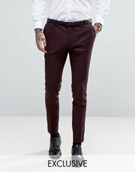 Noak Super Skinny Suit Trousers With Lux Tonal Print Burgundy Red