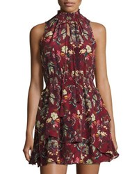 Moon River Floral Print Sleeveless Dress Dark Red