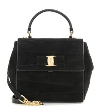 Salvatore Ferragamo Carrie Suede Shoulder Bag Black