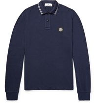 Stone Island Isand Sim Fit Stretch Cotton Pique Poo Shirt Navy
