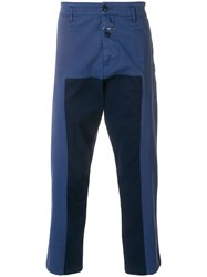 Closed Panelled Drop Crotch Trousers Blue