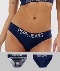 Pepe Jeans Seamless 2 Pack Halle Briefs Navy