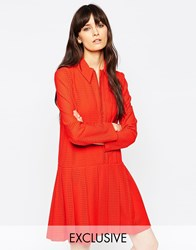 Le Kilt For Asos Zip Pleat Dress With Collar Red
