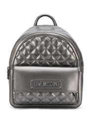 Love Moschino Quilted Logo Backpack Grey