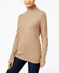 Jm Collection Button Cuff Turtleneck Sweater Only At Macy's Acorn Heather