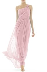 Women's Alfred Sung One Shoulder Shirred Chiffon Gown Blossom