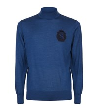Billionaire Patch Turtleneck Sweater Male Blue