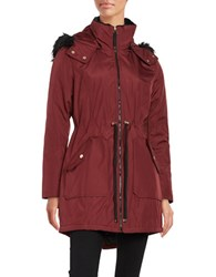 Jessica Simpson Faux Fur Trimmed Water Resistant Hooded Parka Wine