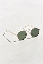 Urban Outfitters Squared Bridge Metal Round Sunglasses Gold