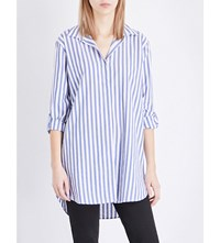 Mih Jeans Oversized Striped Cotton Shirt Blue White Stripes