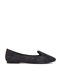 Chocolate Schubar Chiara Rafia Flat Shoes Black