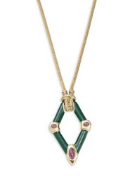House Of Harlow Stone Accented Geometric Pendant Necklace Green