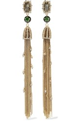 Alexis Bittar Gold And Gunmetal Plated Crystal And Enamel Earrings One Size