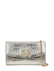 Dolce And Gabbana Croc Embossed Leather Bag Silver