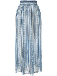 Philosophy Di Lorenzo Serafini High Waist Arabesque Print Skirt Blue