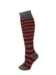 Hunter Striped Knit Knee High Socks Grey Red