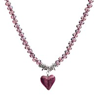 Martick Murano Heart And Crystal Pendant Necklace Plum
