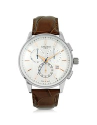 Forzieri Viareggio Silver Tone Stainless Steel Case And Brown Embossed Leather Men's Chrono Watch
