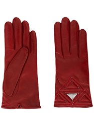 Emporio Armani Logo Embellished Gloves Red