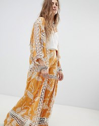 Native Rose Kimono In Embroidered Lace Yellow