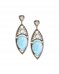 Bavna Aquamarine And Diamond Drop Earrings