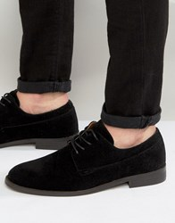 New Look Faux Suede Derby Shoes In Black Black