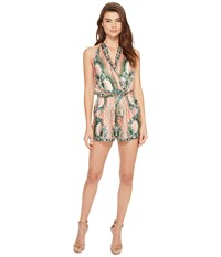 Nicole Miller La Plage By Tropical Peacock Silk Cover Up Romper Multi Women's Swimsuits One Piece