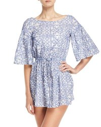 Milly Lynda Boat Neck Elbow Sleeve Swim Coverup Multi