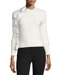 3.1 Phillip Lim Solid Ruffle Long Sleeve Pullover Top White