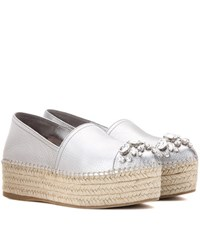 Miu Miu Embellished Metallic Leather Platform Espadrilles Silver