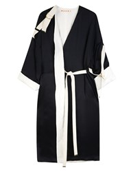 Marni Crepe Satin Duster Coat Black