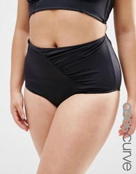 Asos Curve Mix And Match Highwaist Bikini Bottom With Wrapped Front And Support Black