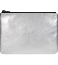 I Know The Queen Metallic Leather Clutch Silver