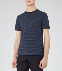 Reiss Burley Mens Fine Stripe T Shirt In Blue