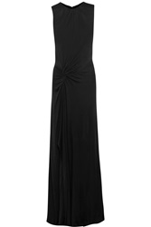 Saloni Emma Ruched Satin Jersey Gown Black