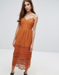 Warehouse Lace Tiered Dress Spice Brown